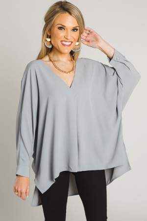 Solid Quarter Sleeve Blouse, Grey