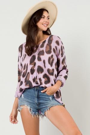 Lavender Leopard V Sweater