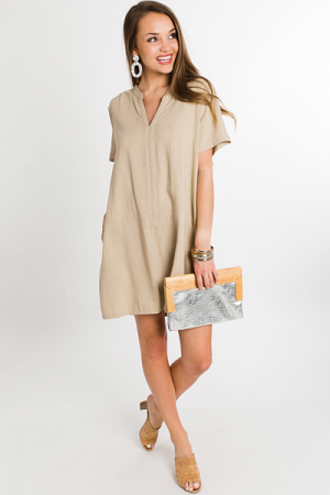 Champagne Toast Linen Dress