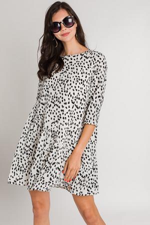 Slanted Spots Dress, Off White
