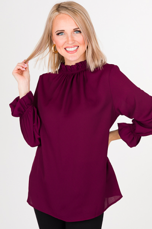 Above It All Ruffle Blouse, Wine