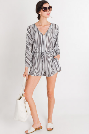 Sailor Stripe Romper, Grey