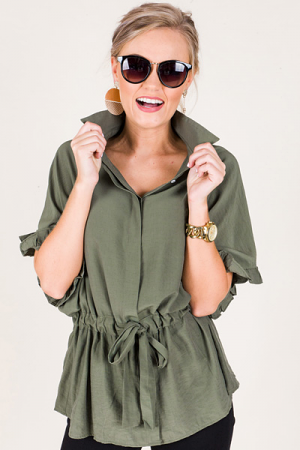 Drawstring Button Down, Army