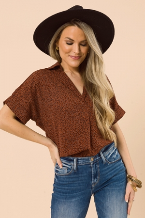 Sophisticated Leopard Blouse, Rust