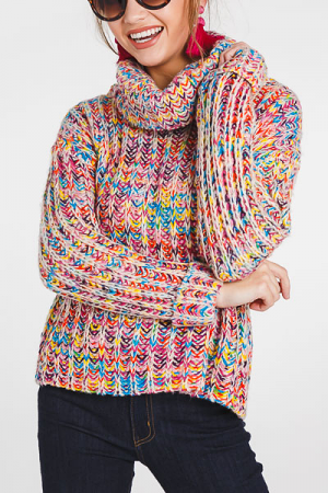 Metallic Rainbow Chunky Sweater