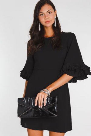 Pleat Sleeve Dress, Black