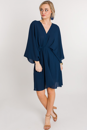 Pleated Kimono Dress, Navy