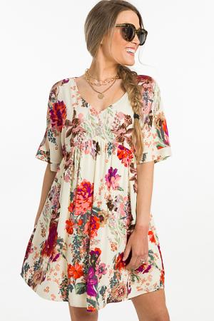 Ivory Floral Babydoll Dress