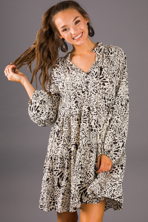 Snow Leopard Dress, Ivory
