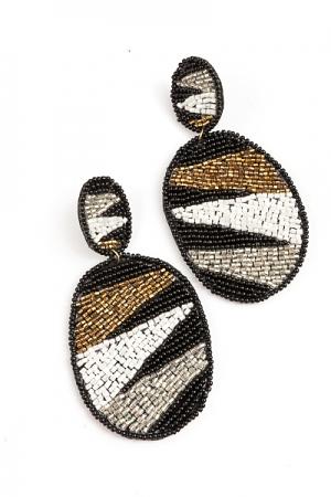 Geometric Pattern Oval Earring, Black