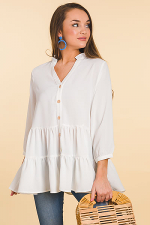 Tiered Button Blouse, Off White