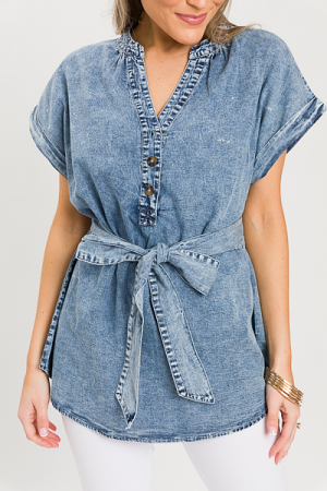 Belted Chambray Top