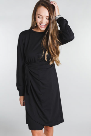 Wrap Waist Dress, Black