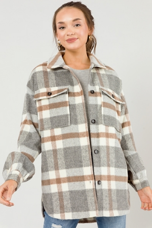 Neutral Plaid Button Jacket