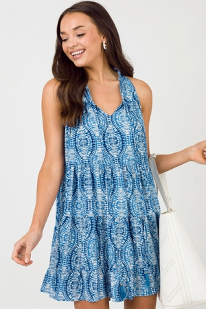 Atlantis Wavy Tier Dress, Blue