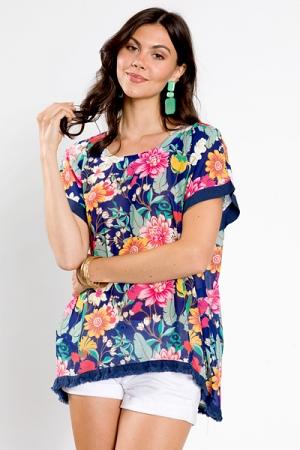 Linen Trim Floral Tunic, Navy