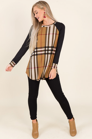 Toffee Plaid Tunic