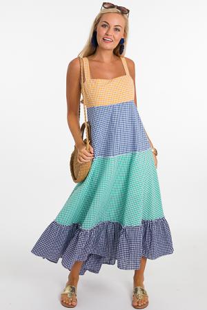 Gingham Colorblock Dress
