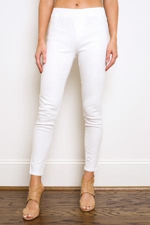 Denim Pull-On Pants, Off White