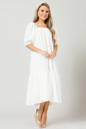 Textured Belted Midi, White