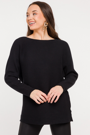 Becky Ribbed Sweater, Black