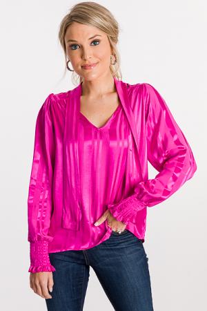 Tonal Stripe Blouse, Hot Pink