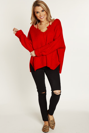 Chunky V-Neck Sweater, Red