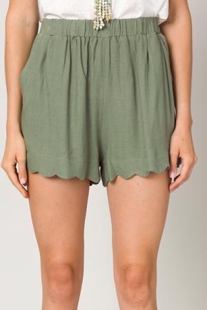 Scalloped Liner Shorts, Olive