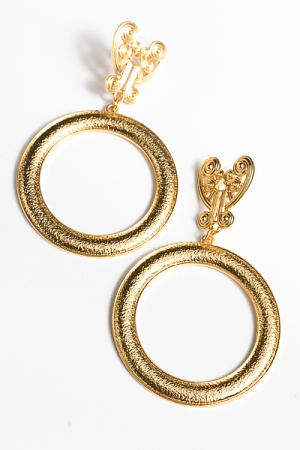 Antique Heart & Circle Earrings, Gold