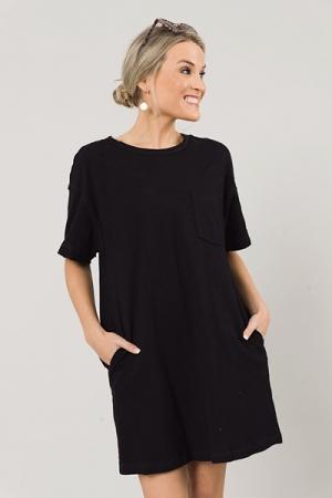 Pocket Tee Dress, Black