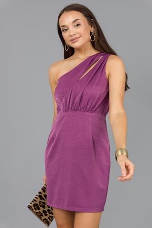 Irreplaceable Satin Dress, Plum