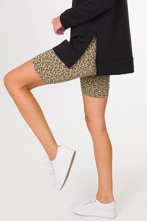 Leopard Biker Shorts, Nude