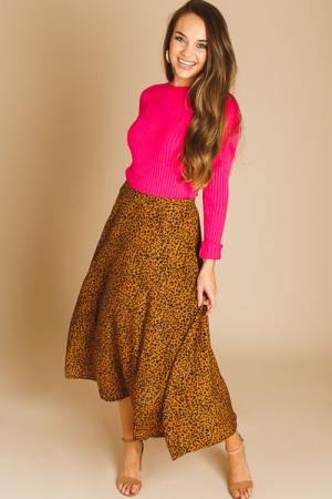 Cheetah A-Line Midi Skirt