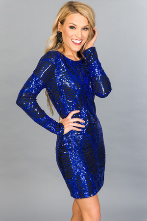 Metallic Cobalt Dress