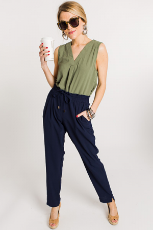 Solid Cigarette Pant, Navy