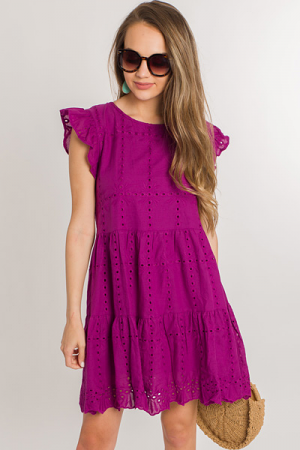 Eyelet Tiered Dress, Magenta