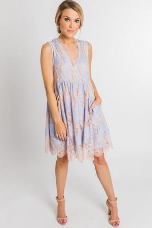 Rose' Lace Dress, Sky