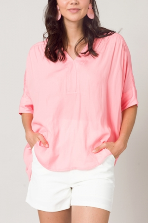 Smooth Oversize Blouse, Pink
