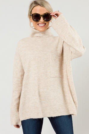 Tia Oversize Pocket Sweater, Oatmeal