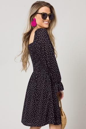 Polka Dot Smock Dress, Black