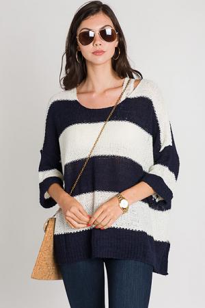 Cuff Sleeve Stripe Sweater, Navy