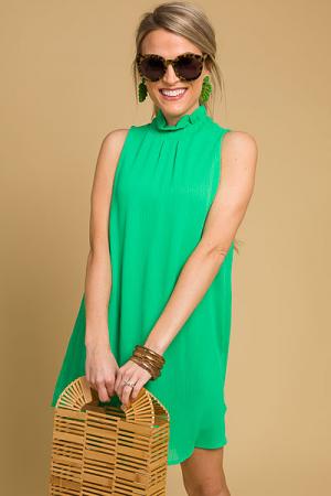 Mod Mock Neck Dress, Emerald