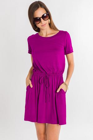 Drawstring Knit Dress, Magenta
