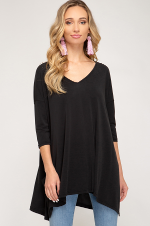 Solid Oversized Knit Tunic, Black