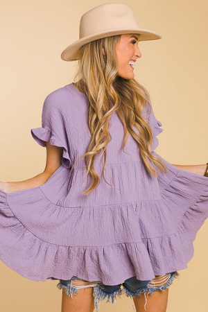 Crinkled Tiered Blouse, Lilac