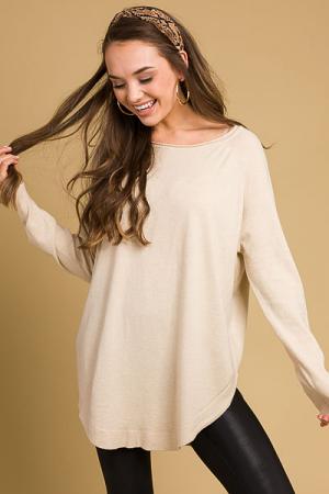 Scoop Hem Solid Sweater, Oatmeal