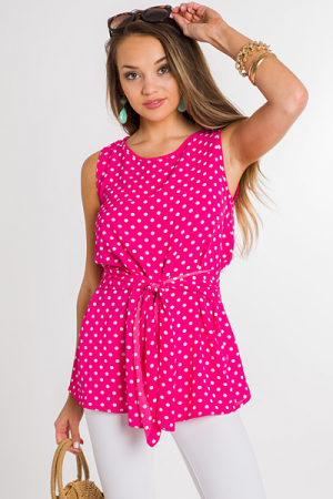 Dotted Tie Top, Hot Pink