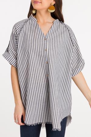 Fray Away Stripe Tunic, Denim
