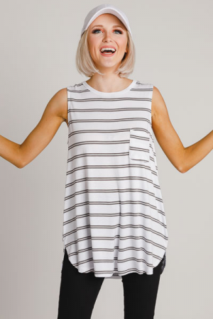 Cason Tank, Double Stripe