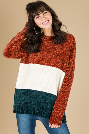 Chenille Colorblock Sweater, Rust